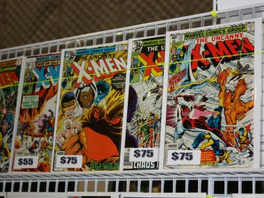 Classic X-Men comics were on sale for as much as $80 at one booth at New York Comic Con. The original price of these over 20-year-old issues was 40 cents.