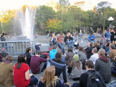Occupy Wall Street protesters are scheduled to meet around Washington Square Park's fountain every night at 5:30 p.m. through Sunday, Oct. 23.