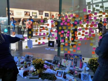 A memorial for Steve Jobs at the Upper West Side Apple store.