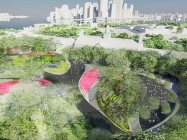 A rendering of the future designs for Governors Island, now under construction.