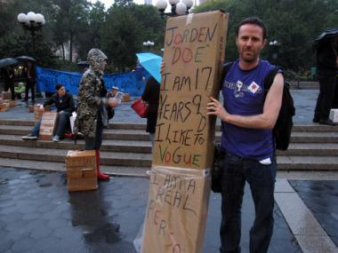 Jake Goodman, from the group Queer Rising, attended the rally in Union Square on Wednesday, Oct. 19, 2011, to fight for more beds for homeless youths.