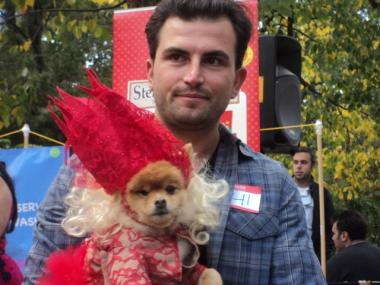 A dog dresses as Lady Gaga was given an award for being best dressed at the 21st annual Tompkins Square Halloween Dog Parade at Tompkins Square Park on Oct. 22, 2011.