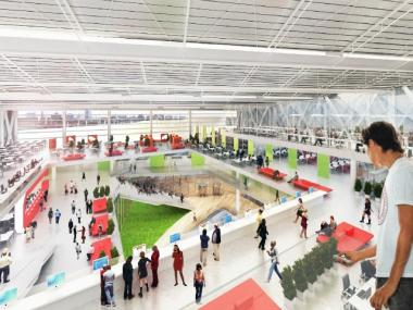 A rendering of the interior of the Cornell/Technion's proposed net-zero energy building on Roosevelt Island.