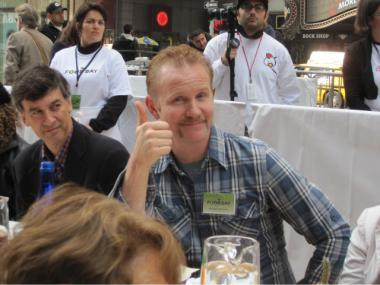 Morgan Spurlock gave a thumbs up during a