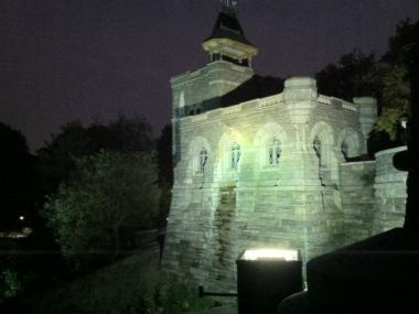 The victim was injured in a fall after trying to scale the facade Belvedere Castle, authorities said.