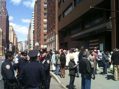 Demonstrators assembled outside buildings of the former St. Vincent's Hospital in May 2011.