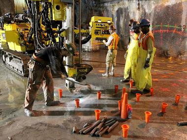 A construction crew prepares to drill under Grand Central Terminal on Oct. 27th, 2011.