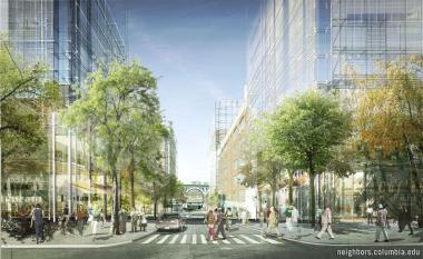 A rendering of Columbia University's Manhattanville expansion on West 131st Street and Broadway looking West.