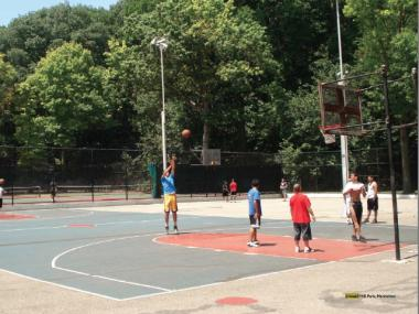 Basketball courts like this one could soon get corporate sponsors.