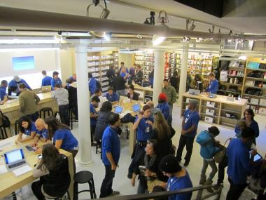 "The ""Genius Bar"" of repair workers are located on the building's lower level."