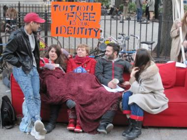 Cooper Union students and alumni demonstrated outside the school's Foundation Building on Weds., Nov. 2, to protest the school considering charging tuition for the first time in its 152-year history.