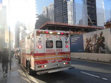 A construction worker was injured at the World Trade Center site on May 21, 2012.