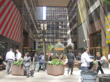 The plazas allow pedestrians to travel all the way from West 51st street to West 57th.