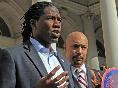 Jumaane Williams and Kirsten John Foy spoke about a police investigation into their being detained in the summer during the West Indian Day Parade on Nov. 10, 2011.