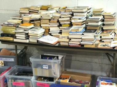 A photograph released by the New York Mayor's Office supposedly showing the Occupy Wall Street library being safely stored at a Department of Sanitation facility on West 57th Street.