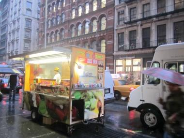 A worker in a halal cart on Broadway said his cart received about eight tickets in the past five months, totaling about $270, for being too close to a bus stop and a fire hydrant in a previous location. He said he and other workers know the rules now.