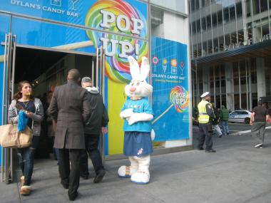A rabbit welcomes customers into Dylan's new holiday location across from Bryant Park.