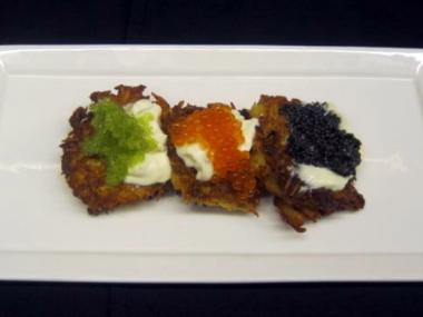The potato latkes at Kutsher's Tribeca are served with three varieties of caviar, along with the traditional sour cream.