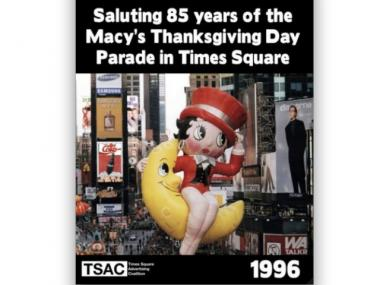 The Times Square Alliance displayed ads like these on billboards during the parade to encourage organizers not to change its route.