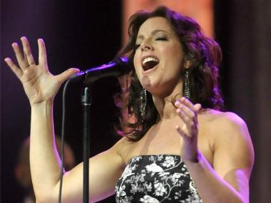 Singer Sarah McLachlan on stage at the 2011 Juno Awards at the Air Canada Centre on March 27, 2011 in Toronto, Canada.
