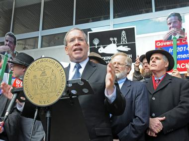 Manhattan Borough President Scott Stringer and Jewish leaders called for action after the discovery of several swastikas on storefronts in Midtown.