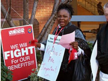 Hundreds of Montefiore nurses in the Bronx picketed on Nov. 18.