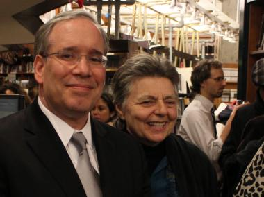 Manhattan Borough President Scott Stringer and Joyce Ravitz at St. Mark's Bookshop on Thursday night.