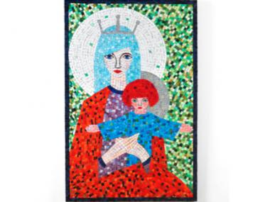 The exhibit includes several pieces that take a more modern view of traditional images. This one gives the mother and child blue and red hair, respectively.