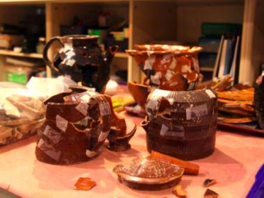 Teapots found beneath Fulton Street in the fall of 2011.