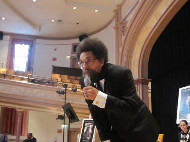 Professor and activist Cornel West spoke to students at Wadleigh and Frederick Douglass Academy II in Harlem on Monday.