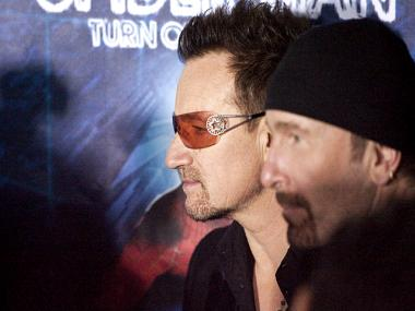 Bono was hurt in a cycling accident Sunday in Central Park. Bono, left, and The Edge attend the Spider-Man Turn off the Dark premiere at the Foxwoods Theater, June 14, 2011.