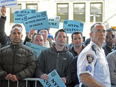 Police officers turned out in droves outside a Bronx courthouse to back NYPD officers accused of fixing tickets, Oct. 28, 2011.