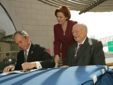 "Mayor Bloomberg signs legislation to rename the Queensboro Bridge the ""Ed Koch Queensboro Bridge"" in honor of the 105th Mayor of the City of New York, Mayor Edward I. Koch. April 11, 2011."