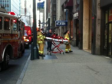 Firefighters respond to an elevator accident at 285 Madison Avenue Wednesday morning.