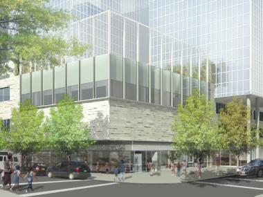 A rendering of the new K-8 school to open in 2017 at Riverside Center, a five-tower complex on the Upper West Side.