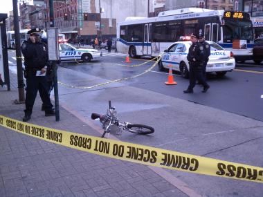 A 17 year old bicyclist was killed after he collided with a truck in Harlem and thrown to the pavement on December 16, 2011.