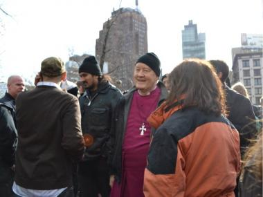 Retired bishop George Packer, one of the key contacts in negotiating an agreement between Trinity Church and Occupy protesters, at Duarte Square on Dec. 17, 2011 for a protest marking the three-month anniversary of the movement.