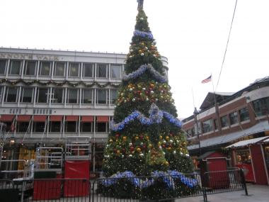 The Christmas tree in the South Street Seaport this year is fake.