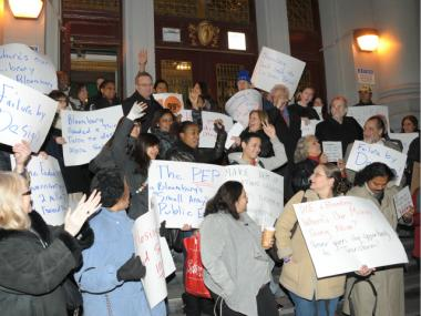 Parents, teachers and students gathered on the steps of Washington Irving High School in Gramercy on Tuesday, Dec. 20, 2011, to protest the school's planned closure.