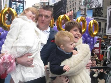 The Johnson family was showered with prizes after being selected at the honorary 50 millionth tourists in New York this year.