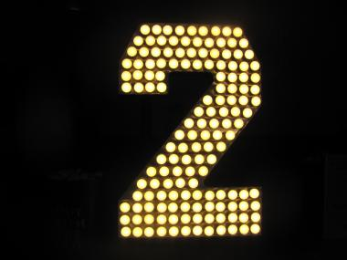 The '2' aglow in Times Square.