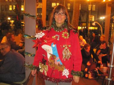 Linda Kozik shows off her impressively ugly home-made sweater at Bryant Park.