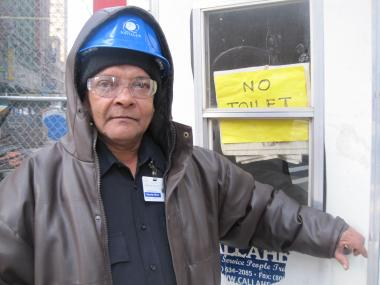 Security Guard Raphel Sicheran says many people mistake the shed for a Porta-Potty.