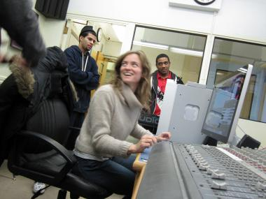 Dawn Landes, a music studio engineer, teaches her craft to Harlem Renaissance High School students.
