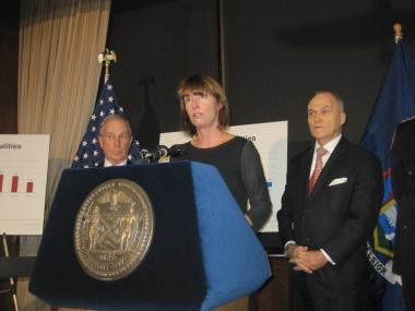 Transportation Commissioner Janette Sadik-Khan spoke at an event with Michael Bloomberg and Ray Kelly.