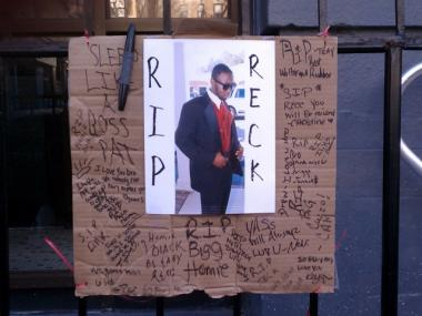 Well-wishes for Walter Sumter, 18, who was shot to death in Harlem on Dec. 30, 2011, at his home on Morningside Ave.