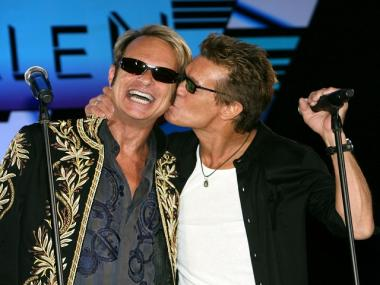 Van Halen singer David Lee Roth received a smooch from guitar player Eddie Van Halen at an August 2007 press conference announcing their 2007/2008 tour.