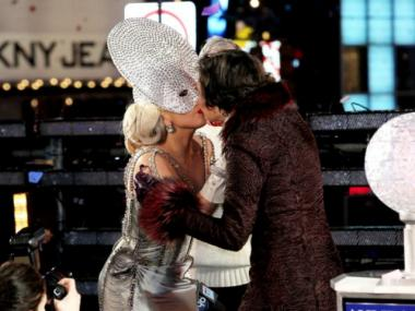 Lady Gaga and Diana Taylor onstage at New Year's Eve 2012 in Times Square on December 31, 2011 in New York City.