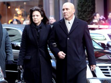 Madonna Badger and Michael Borcina arrive at Saint Thomas Church for the funeral of the three Badger children on Jan. 5th, 2012.