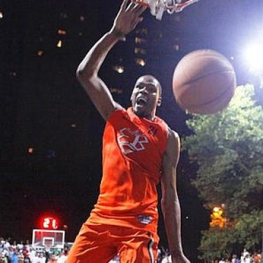 National Basketball Association player Kevin Durant scored 66 points at the Entertainer's Basketball Classic at Rucker Park in Harlem in August 2011.